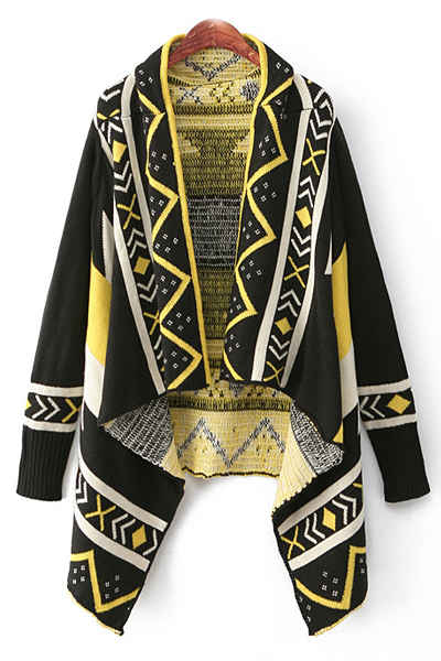 Fashion Long Sleeves Geometric Print Asymmetrical Short Yellow Cardigan Sweater