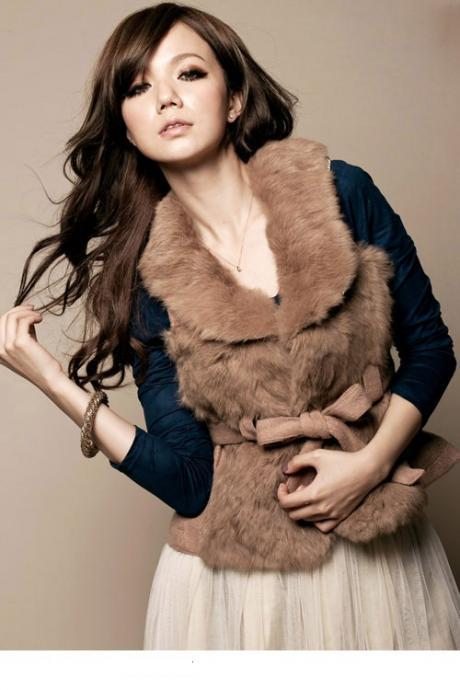 Women Sexy Brown V-Neck Solid Worsted Vest