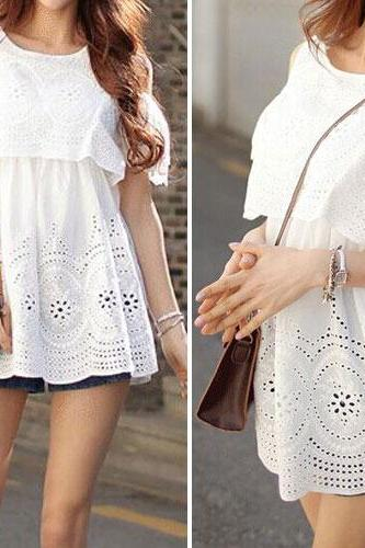 Fashion Off-shoulder Hollow Out Crochet Short-sleeved Tops [ghyxh36371]