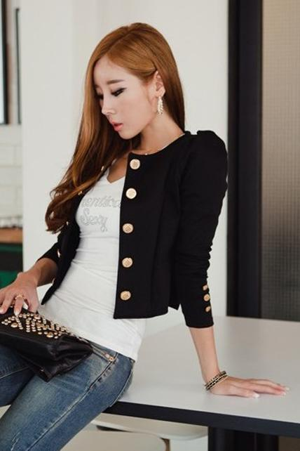 Fashion Button Embellished Puff Sleeve Jackets for Lady - Black