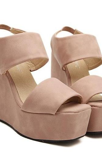 Chic Bandage Style Fashion Wedges in Black and Pink