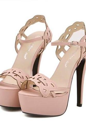 Sexy Laser Cut Design Peep Toe High Heel Sandals
