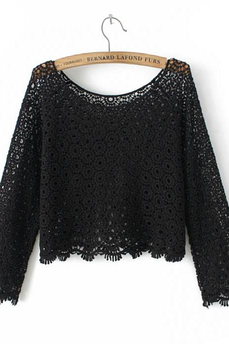 Long-sleeved Hollow Out Top