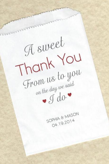 50 Sweet Thank You Wedding Personalized Candy Buffet Party Favor Bags - Personalized paper bags