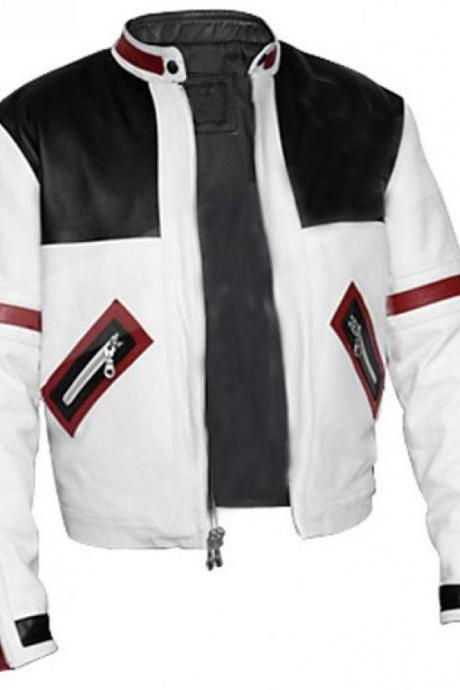CHASER BOX MENS WHITE MOTORCYCLE LEATHER JACKET, MEN LEATHER JACKET