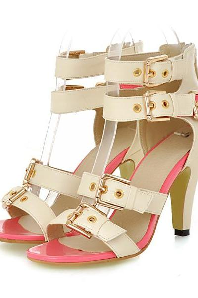 Bandage Style Color Block High heel Sandals in 2 Colors