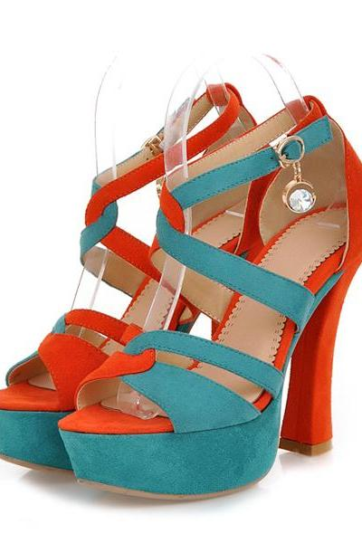Criss Cross Strap Charmed Peep Toe High Heel Fashion Sandals