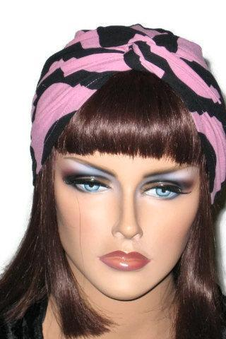 Pink and Black Handmade Twist Fashion Turban