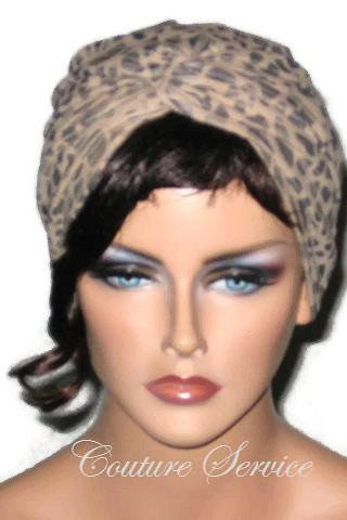 Tan Micro-suede Handmade Womens Twist Turban