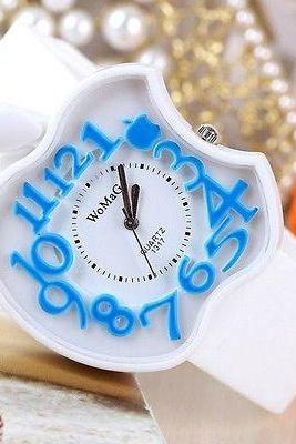New White Womens Dress Watch Clock Silicone Apple Pattern Casual Wristwatc
