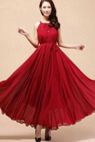 Burgundy Red Dress Maxi Sleeveless Red Dresses