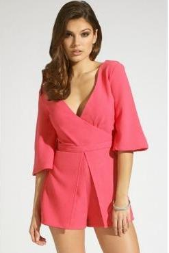 Sexy V Neck Half Sleeves Solid Rose Red Polyester One-piece Regular Jumpsuit