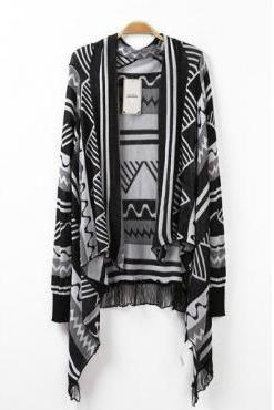 New Style Long Sleeves Tassels Design Geometric Patterns Print Cotton Blends Knitting Blouse