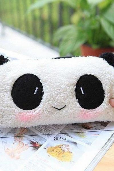 Panda Soft Plush Fancy Pencil Case Pen Pocket Cosmetic Makeup Zipper Bag Pouch