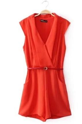 The 2014 summer female belt v-neck sleeveless jumpsuits