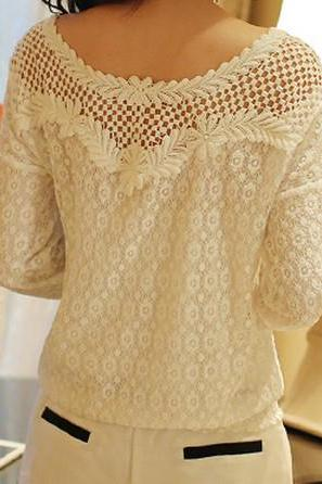 Hollow out lace chiffon shirt BA808FI