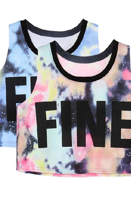 Star FINE letters printed vest AD813CD
