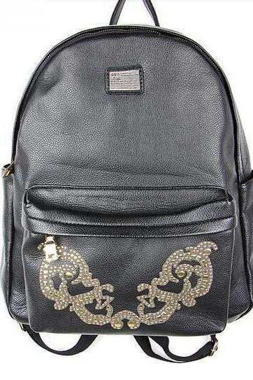 Black Vintage Design Leather Backpack
