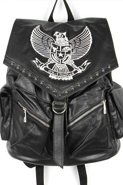 Eagle Design Black Vintage Style Leather Backpack