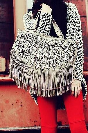 Fashion Leopard shoulder bag tassel bag handbags