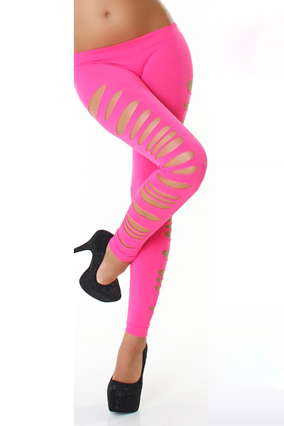 Fashion Mid Waist Side Strappy Cut-out Solid Pink Polyester Leggings
