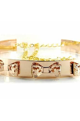 Fashion Bowknots Embellished Golden Alloy Belt
