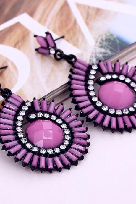 Fashion Rhinestones Embellished Water Drop Shaped Purple Metal Earring