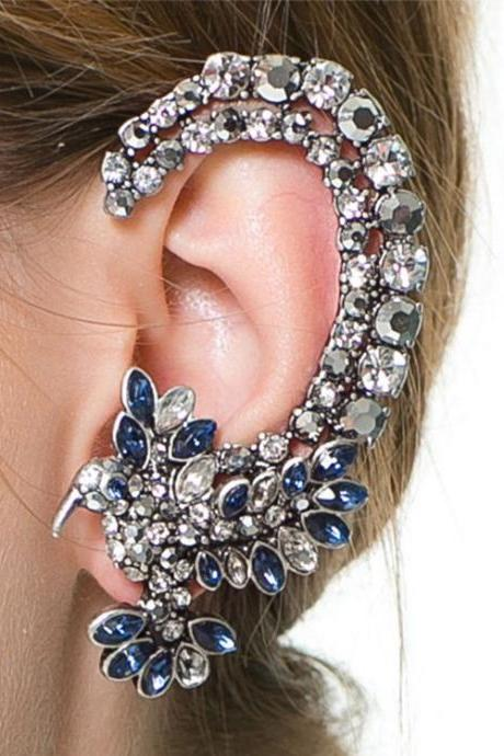 Fashion Rhinestones Embellished Metal Earrings