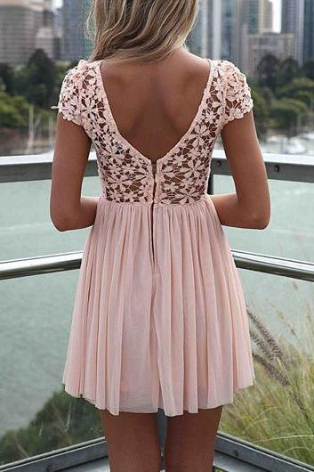 High Quality Round Neck Cap Sleeve Dress - Pink