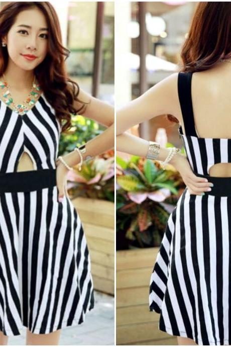 Black and White Stripe Print Cut Out Skater Dress