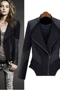 European Style Skinny Turndown Collar Long Sleeve Black PU Jacket