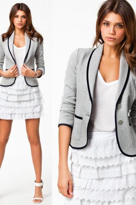 Fashion Women Blazer Short Turn Down Collar Slim Single Button Jacket Suit Coat