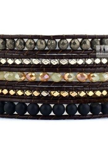Dark Autumn Beaded Wrap Bracelet with Silver/Gold Nuggets on Dark Brown Leather Cord - Artisan Boho Handmade Chan Luu Inspired