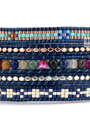 Beaded Wrap Bracelet; Tribal Bohemian Wrap Bracelet - Natural Stones with Mixed Seed Beads 5X Wrap - Ethic Pattern Wrap OOAK