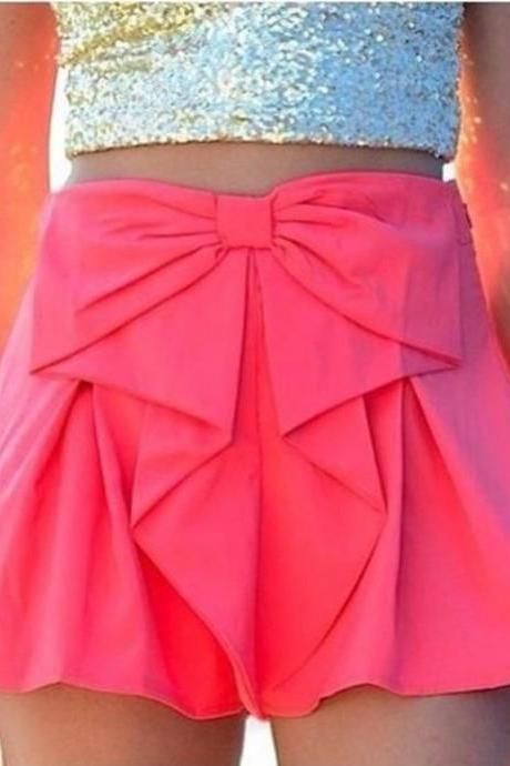 Women Girl Summer Fashion Loose Bow Waist Elastic Waistband Pleated Flare shorts