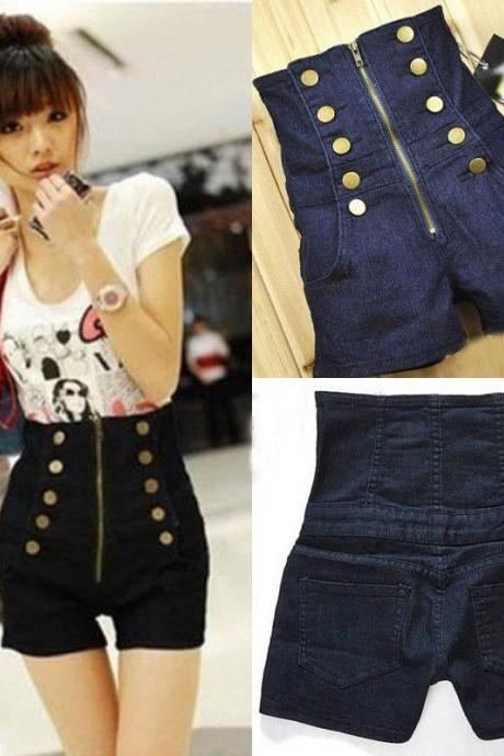 Sexy Women Double Breasted Zipper Vintage High Waist Women Jean Shorts Pants New
