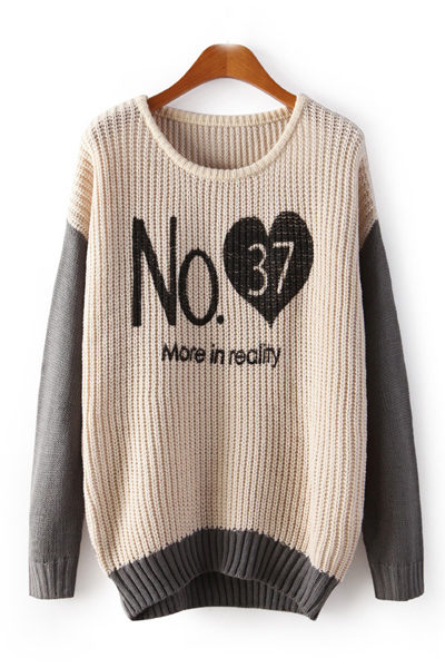 Fashion Letters Print O Neck Long Sleeves Pullover