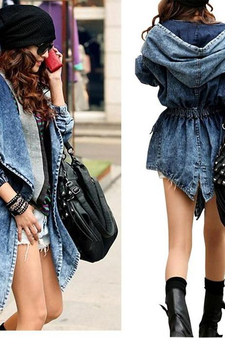 Denim Jeans Trench Coat Jacket