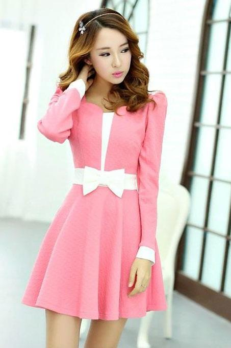 2014 New Autumn Sweet Bow Women's Slim Long Sleeved Dress - Pink