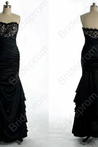 Black Prom Dress Long Prom Gown Strapless Bridesmaid Dress Lace Dress Custom Size