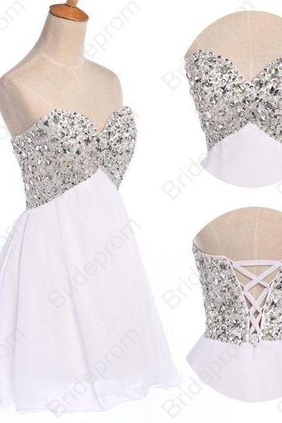 White Strapless Sweetheart Beaded Short Homecoming Dress, Cocktail Party Dress Featuring Lace-Up Back
