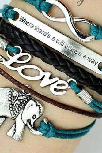 Sexy Retro Romantic LOVE Elephant Letters Multi-layers Bracelet