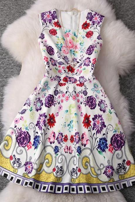 Sexy Temperament Printed Sleeveless Dress