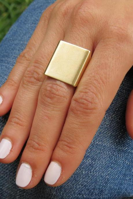 Gold Ring - Wide band ring, Adjustable ring, Simple big gold ring, Statement gold ring, Gold accessories, Square gold ring, Gold jewelry