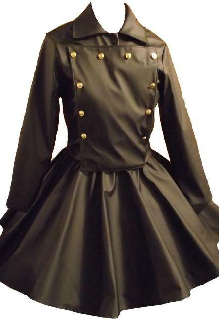 Gothic Jacket Skirt Outfit Goth Cosplay Lolita Black Vinyl Military Jacket and Circle Skirt Custom Size Plus Size
