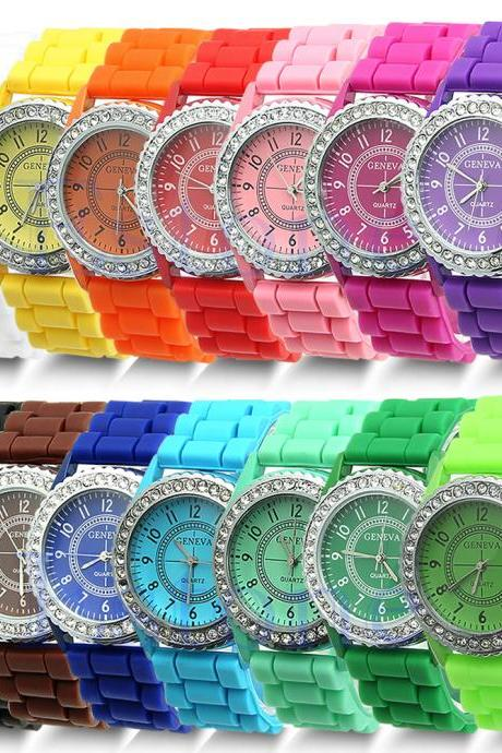 SALE Geneva Fashion Crystal Jelly Gel Silicon Girl Women's Quartz Wrist Watch