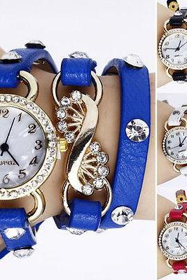 SALE Gothic Women Crystal Dial Layers Leather Bracelet Quartz Analog Wrist Watch