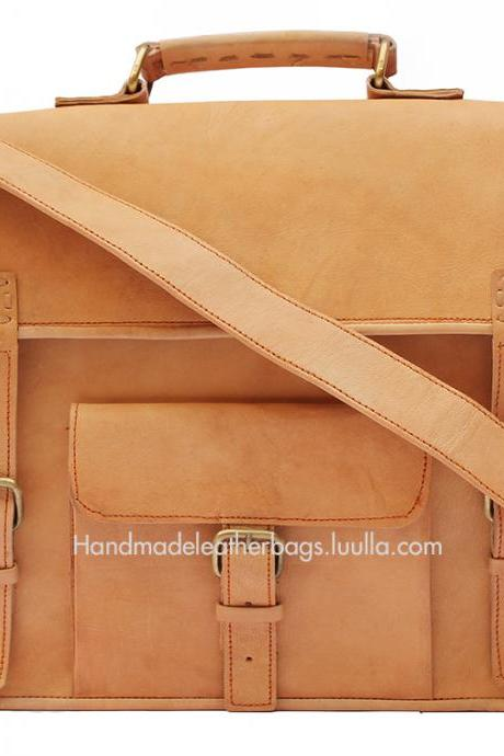 15 inch Handmade Leather messenger bag (Buffalo leather)