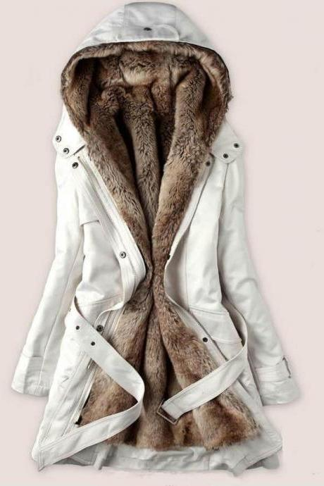 Large Size Fur Coats White Parka Jacket with Faux Fur Lining for Women-Off White Winter Jacket for Women