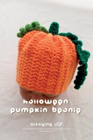 Crochet Pattern Halloween Pumpkins Beanie - Chart & Written Pattern